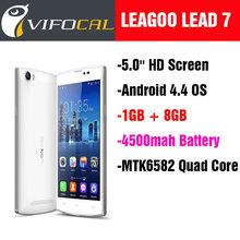 "New Original Leagoo Lead 7 Mobile Phone MTK6582 Quad Core 5.0"" HD Screen Android 4.4 OS 1GB RAM + 8GB ROM 13.0MP 4500mah GPS"