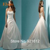 2015 Fashionable Sexy Satin Train A line Strapless White Ivory Gown Bride Vintage Romantic Vestido De Noiva Wedding Dress WDF26