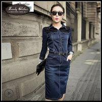 This 2015 Women Jean Dresses Spring and Autumn Women Dresses Slim Medium-long Lace Patchwork Denim One-piece Dress High Quality