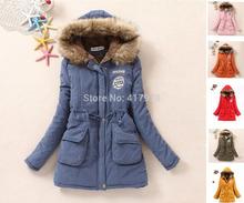 Abrigo de invierno Mujeres estilo coreano ocasional de la piel de imitación lana forrada de Down Chaquetas de algodón acolchado Abrigos sólido Parka Militar Plus Size(China (Mainland))