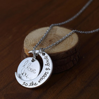 """Lover's Valentine's day Gifts Fashion Letter Moon Statement Necklace """" I Love You To The Moon And Back """" Gold Silver Newest"""