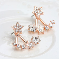 Top Quality Charm Elegant Star Temperament Austrian Rhinestone Earrings Cute Pentagram Crystal Stud Earring Jewelry For Women