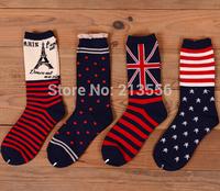 1lot=6pairs=12pcs 2014 New England style casual socks socks free shipping Eiffel Tower Stars and Stripes Couples socks