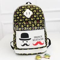 New college wind canvas backpack fashion casual beard shoulders bag student schoolbag Printing Cartoon Backpacks bp0677