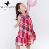 2015 Spring Girl Dress sleeveless kids clothing,fashion brand children dress with embroidery, elegant dress for baby girls.