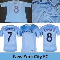 2015 Season New York City FC Soccer Jersey DAVID VILLA Home Sky Blue New York City Football Shirt LAMPARD NYCFC Free Shipping