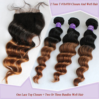 T #1b/#30 Color Ombre Peruvian Virgin Hair Weave Hair And Closure With Body Wave Texture