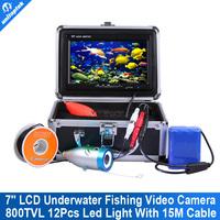 "2015 New 800TVL 12 White Brignt Light 7"" TFT Color LCD Underwater Fishing Camera Fishing Finder Video Camera Aluminum Case"
