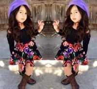 Long Sleeve T shirt+Printed Skirt Kids Sets:Cotton Toddler Girl Clothing 2015 New Girls Wear conjuntos para meninas bebes Suit