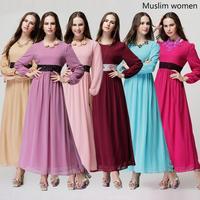 Muslim Women Long Sleeve Dress Islamic maxi dresses 5501302002