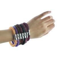 New arrival bracelets mesh chain with full resin crystal bracelets inside magnetic wrap bracelet Free Shipping JWJHCB001