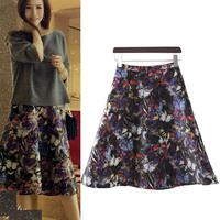 Fashion Womens Vintage Retro Hepburn Butterfly Floral Print High Waist A-Line Knee-Length Midi Swing Skirts & Belt