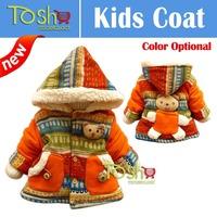 Hot Baby Girl Cute 3D Bear Bohemia Pocket Winter Warm Jacket Gown Kids Outwears Coat Free Shipping