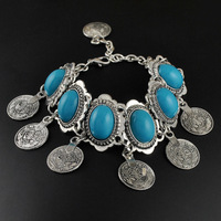 Top Brand Antique Silver Plated Retro Coins Turquoise Bracelets & Bangles Fashion Bohemian Style Jewelry For Women