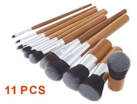 2014 hot Professional 11 pcs set Bamboo Handle Makeup Brushes Cosmetic Eyeshadow Concealer with bag package Free Shipping XM050
