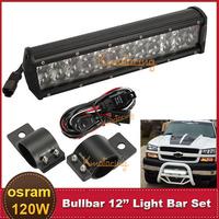 12'' 120W OSRAM LED Light Bar 4X4 4WD ATV UTE SUV Truck Trailer Offroad Bumper Headlight + 49~54mm Bull Bar Lamp Mount Bracket