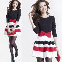 2015 Autumn New Fashion Cute Women Striped Patchwork Bow Mini Pleated Bubble Dress Vestidos, 4 Colors, M, L, XL