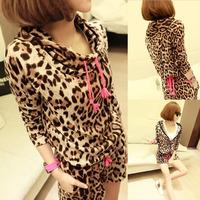 2014 Autumn New Stylish Women Leopard Print Pajamas Sets Hooded Tops+Shorts Pants, Size Free