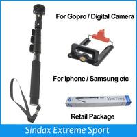 2015 New Handheld Extendable Phone Monopod Selfie Monopod For Gopro Camera Tripod Holder for Iphone Samsung GoPro Hero 4