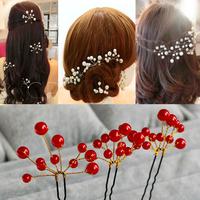 6 pcs Fashion New Wedding Bridal Hair Accessory Bridesmaid Pearls Hair Clips Comb Headband bridal hairpin flower