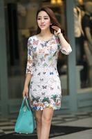 2015 Spring Elegant Women Fashion Lace Patchwork Print Empire O-Neck Slim Fit Mini Dress Vestidos With Belt, M-XXL