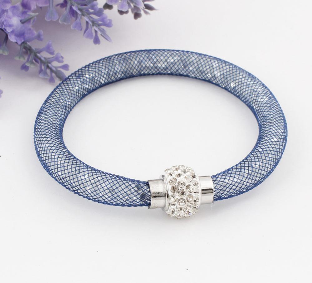 Wholesale Handmade Wristband Fashion Stardust Crystal Rhinestone Women Charm Bracelets Bangles With Magnetic Clasp Free Shipping(China (Mainland))