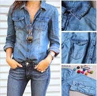 Free Shipping 2015 Women Blouse Spring Autumn Long Sleeve Casual Denim Shirt Slim Cotton Jeans Shirts Women Shirts S-XXL