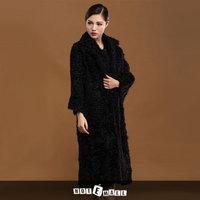 2014 new arrival hotsell lamb fur coat extra long women fur coat long frozen dress turn down collar free shipping outwear women