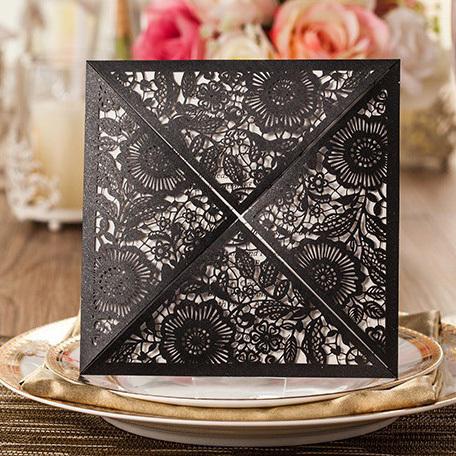 Wishmade convites de casamento preto clássico personalizado impressão personalizada livre cartões envelope embalagem grátis frete CW520_BL(China (Mainland))