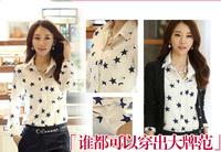 Women 's Blouses plus size Polka dot Star Print Oversize Chiffon Shirt blouses Size S- 4XL