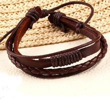 New Design hot sale Fashion 100% hand-woven Leather Strap Chain Bracelet jewelry Vintage Men Rope Bracelets Wholesale 2015 PD26(China (Mainland))