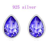 Free shipping Austrian crystal 925 sterling silver earrings ear stud