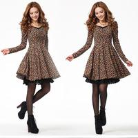 2015 Autumn New Cute Women Vintage Floral Print Patchwork Long Sleeve V-Neck Pleated Mini Dress, Orange, Blue, S, M, L, XL, XXL