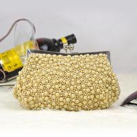 Trending evening bag Beaded Clutch Bag Clasp Beads Bag Handcraft Handbag(2 colors) S20242
