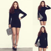 2015 Spring New Sexy Fashion Women Solid Long Sleeve Package Hip Base Sheath Mini Dress, Black, White, Dark Gray, Size Free