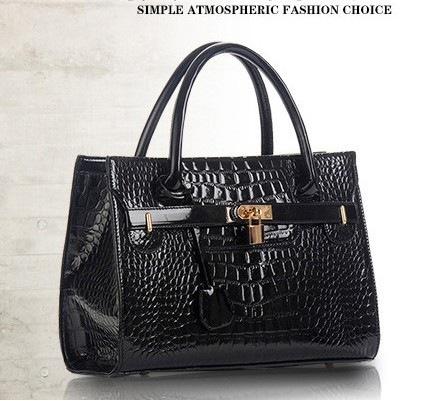 new fashion classic style tote bag big causal handbag women's pu leather crocodile skin bag for lady with zipper luxury big bag(China (Mainland))