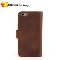 Fashion genuine crazy horse leather for iphone 6 purse classical soft cow leather for apple i6 bag wholesale/dropshipping