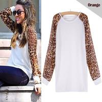 Women Spring Autumn Fashion Long Sleeve Chiffon Sleeve Casual Sweatshirts Women Lady Patchwork Leopard Blouse Shirts KH852519