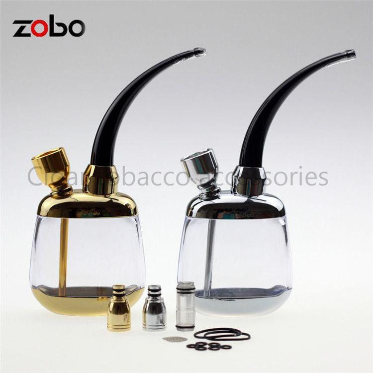 Zobo Pretty Gadgets Portable Mini Water Smoking Pipe Shisha Hookah Bicirculation Filter Cigarette Holder W/ Gift Box&2 Color(China (Mainland))