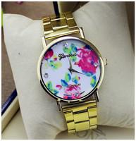 New 2015 Hot Fashion Vintage GENEVA Casual Ladies Rhinestone Wristwatches Rose Flower Leather Quartz Watch Women Dress Watches