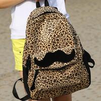 New Korean Women Girls Moustache Leopard Backpack Schoolbag Travel Bag Mochila