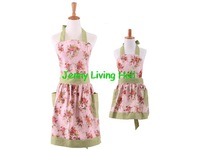 Mother and Daughter Apron 100% Cotton Canvas Floral Blossom England Style Apron with Pocket