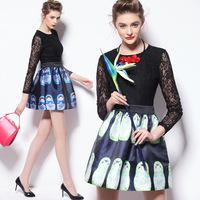 Spring Fashion Women's Dresses 2015 Long-sleeve Lace Top Contrast Color Faux Two Piece Dress