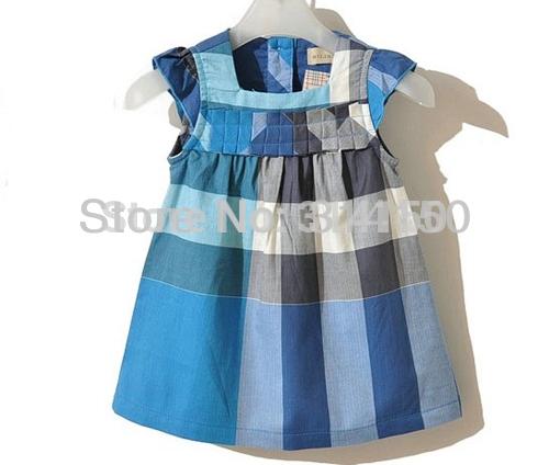 Girl Summer Dress Kid 2014 New style Clothing Toddler Plaid One-piece Dress Cotton Sleeveless Dress 1pcs free shipping(China (Mainland))