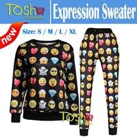 2015 New Emoji Jogger Suit Women Sport Suits 2 Pieces Emoji Clothes Pants+Hoodies Print Cartoon 3d Sweatshirt Free Shipping