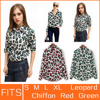 Brand New Leopard Blouse Shirt Blusas Women Woman Female Femininas Chiffon Formal Shirts Blusa Camisas Women Blouses Clothing