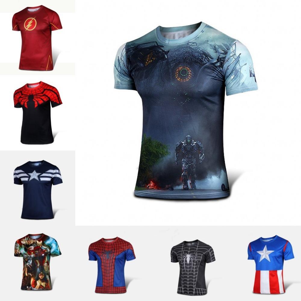 New 2015 Batman Spiderman Ironman Superman Captain America Winter soldier Marvel T shirt Avengers Costume Comics Superhero mens(China (Mainland))