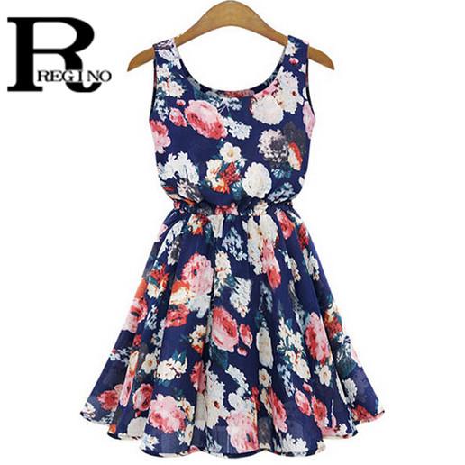 Regino 2015 Spring New Brand Fashion Women Clothing Vintage Floral Printed Casual Streetwear Chiffon Mini Pleated Dress(China (Mainland))