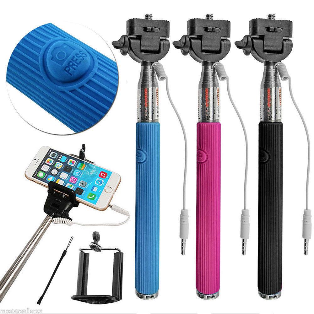 Wired Selfie Stick Handheld Monopod Built-in Shutter Extendable + Mount