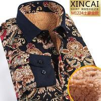 2015 Winter Fahion Plus Velvet Thick Men Warm Shirts Cashmere Long Sleeved Shirt Printing Fashion Trend Camisas Hombre